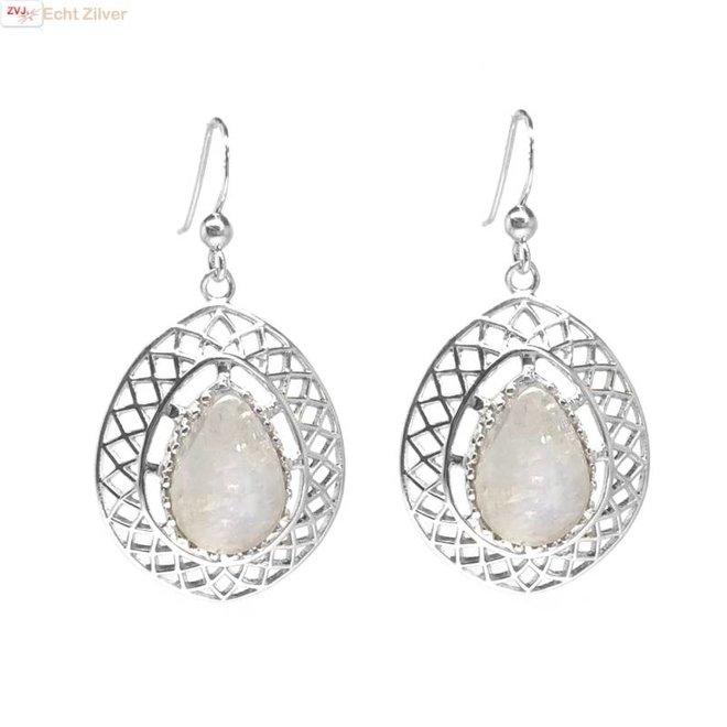 Zilveren klassieke regenboog maansteen oorhangers