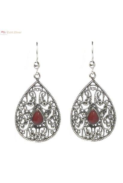 Zilveren klassieke koraal rode oorhangers