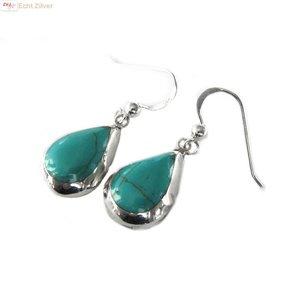 ZilverVoorJou Echt 925 zilveren druppel oorbellen turkoois groen