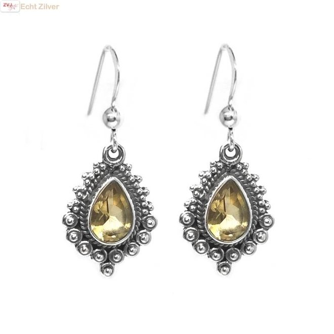 Zilveren gele citrien oorbellen