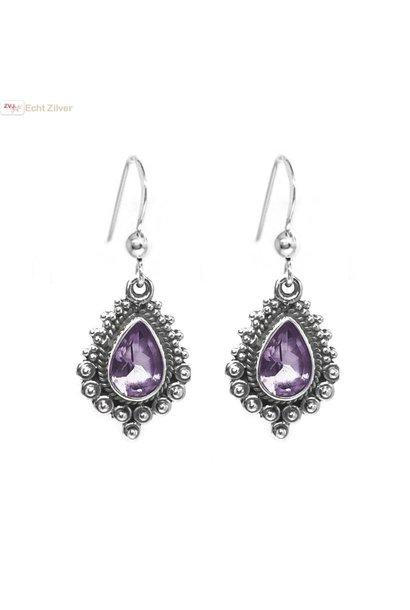 Zilveren paarse amethist oorbellen