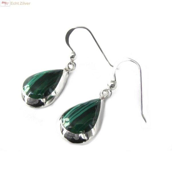 Echt 925 zilveren druppel oorbellen malachiet groen