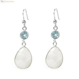 ZilverVoorJou Zilveren regenboog maansteen blauwe topaas edelsteen oorhangers