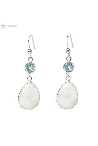 Zilveren regenboog maansteen blauwe topaas edelsteen oorhangers