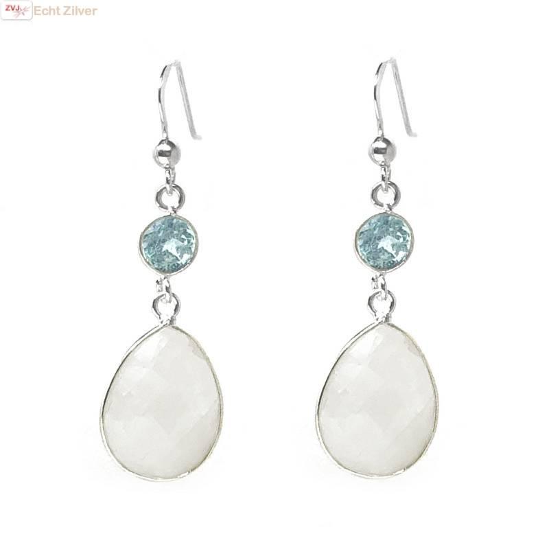 Zilveren regenboog maansteen blauwe topaas edelsteen oorhangers-1