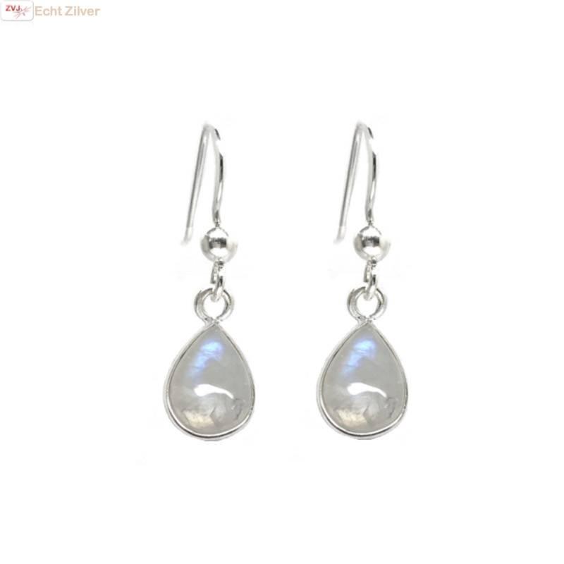 Zilveren  regenboog maansteen druppel oorhangers-1