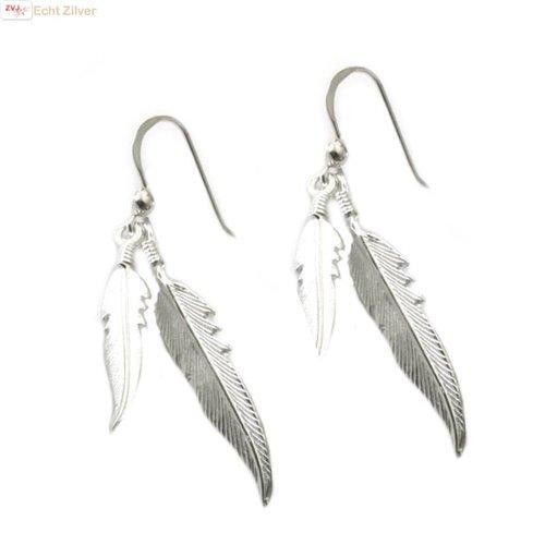ZilverVoorJou Zilveren dubbele veer oorbellen hangers