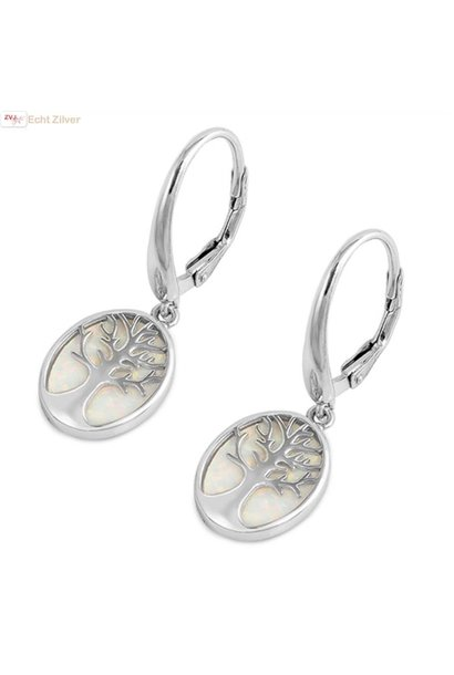 Zilveren witte opaal levensboom oorhangers