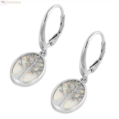 ZilverVoorJou Zilveren witte opaal levensboom oorhangers