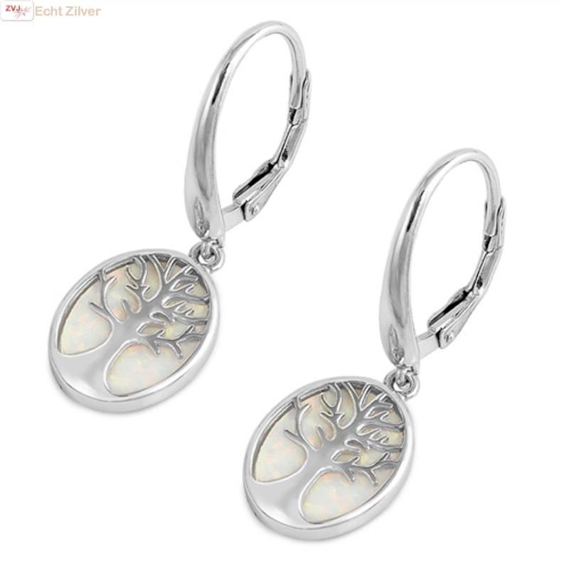 Zilveren witte opaal levensboom oorhangers-1