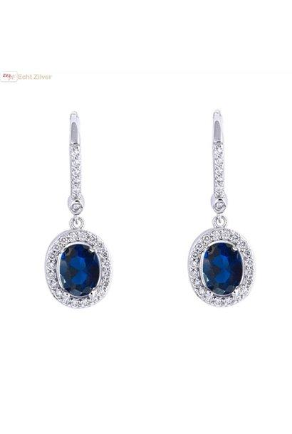 Zilveren saffier blauwe Diana oorhangers