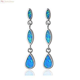 ZilverVoorJou Zilveren elegante ranke blauw opaal oorbellen