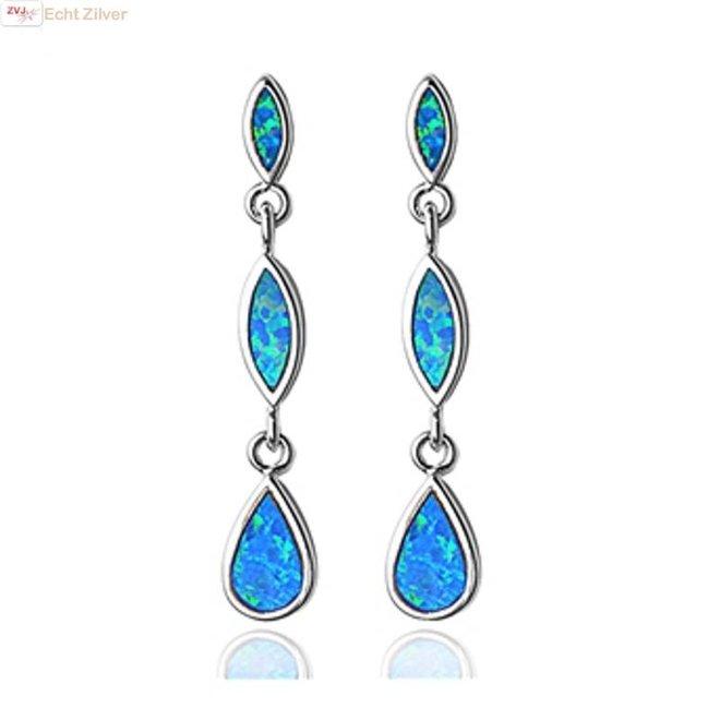 Zilveren elegante ranke blauw opaal oorbellen