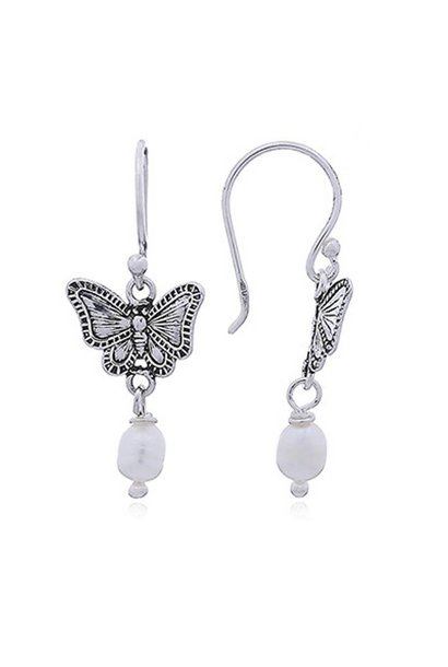Zilveren zoetwater parel antieke vlinder oorhangers