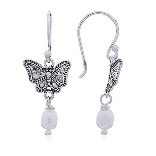ZilverVoorJou Zilveren zoetwater parel antieke vlinder oorhangers