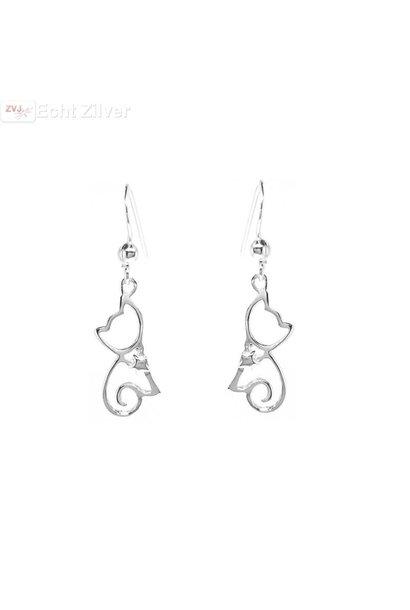 Zilveren poes, kat hangers oorbellen