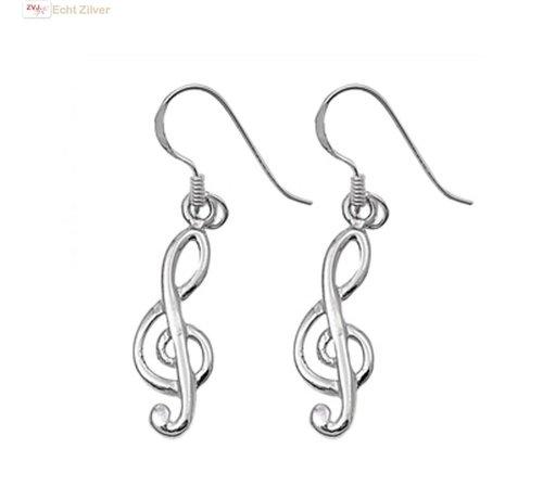 ZilverVoorJou Zilveren vioolsleutel oorbellen hangers