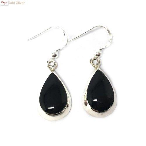 ZilverVoorJou Zilveren druppel oorbellen hangers onyx zwart