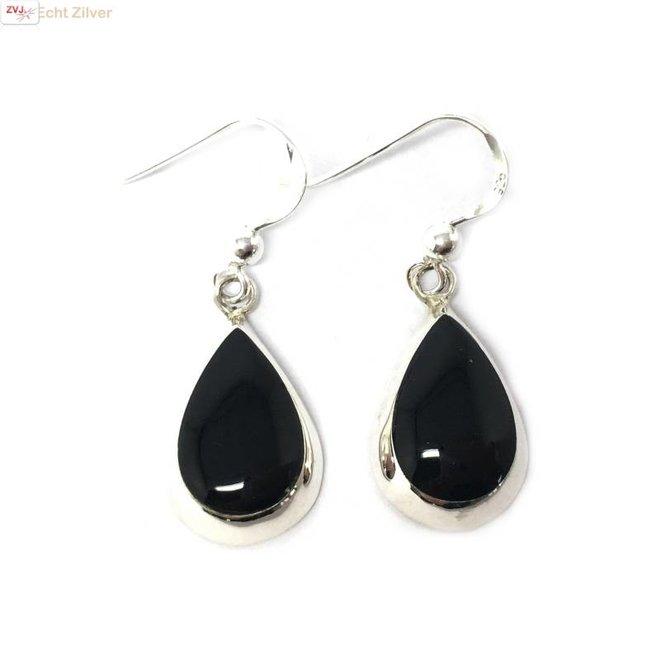 Zilveren druppel oorbellen hangers onyx zwart