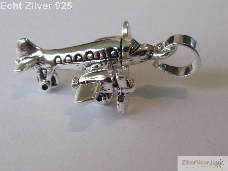 zilveren 925 propellor vliegtuig kettinghanger zilvervoorjou