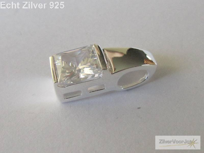 outlet Zilveren strakke vierkante witte zirkonia kettinghanger-2