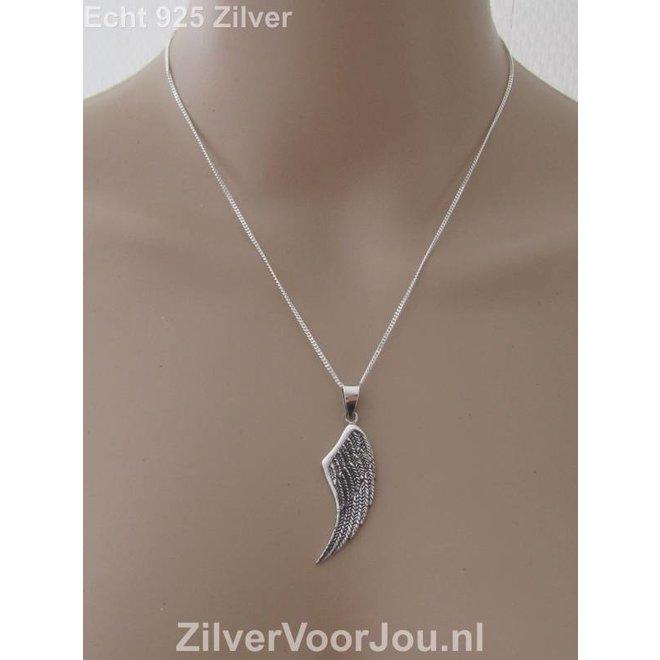 Zilveren prachtige angelwing engel vleugel kettinghanger