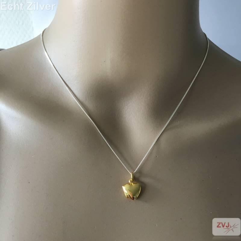 Zilveren geel goud vergulde klein hart medaillon-2