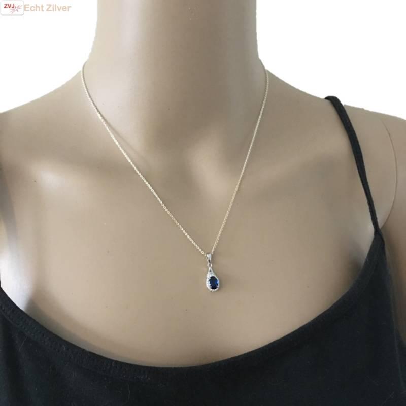 Zilveren saffier blauwe kettinghanger-2