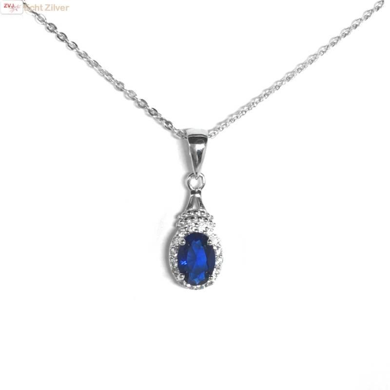 Zilveren saffier blauwe kettinghanger-3