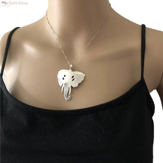 Zilveren grote olifanten kop kettinghanger