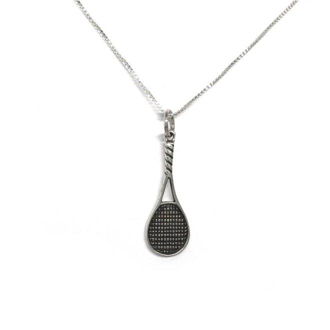 Zilveren oxide tennisracket kettinghanger