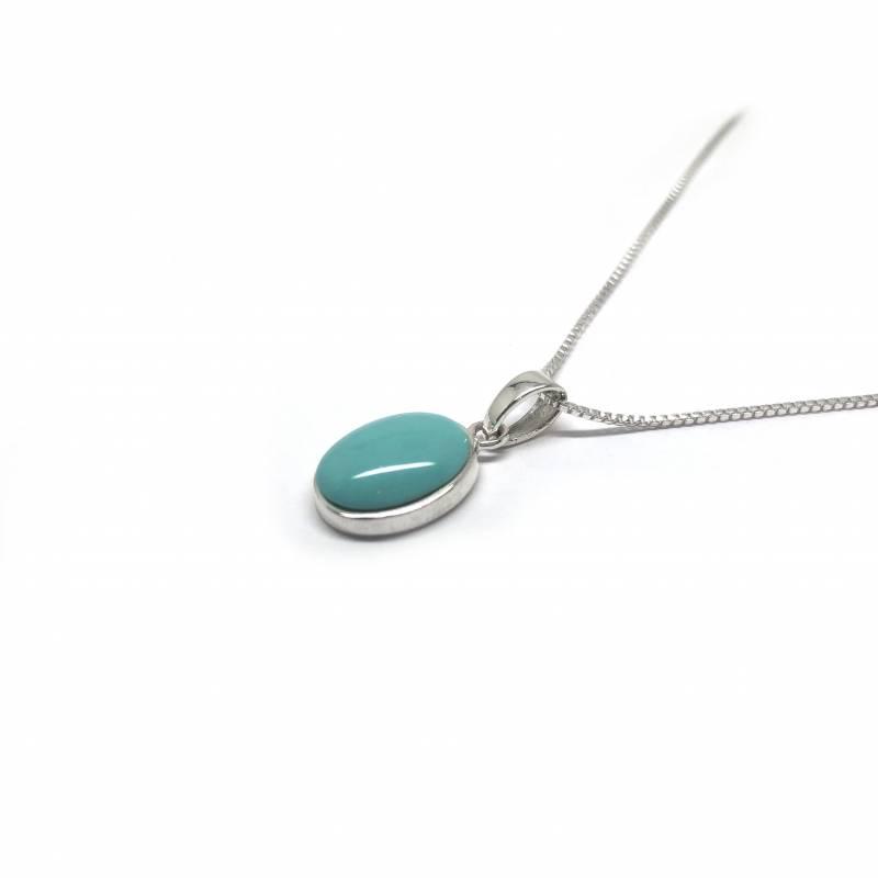 Zilveren turkoois groene ovale kettinghanger-3