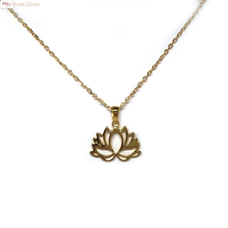 Goud op zilver Lotus bloem kettinghanger-2