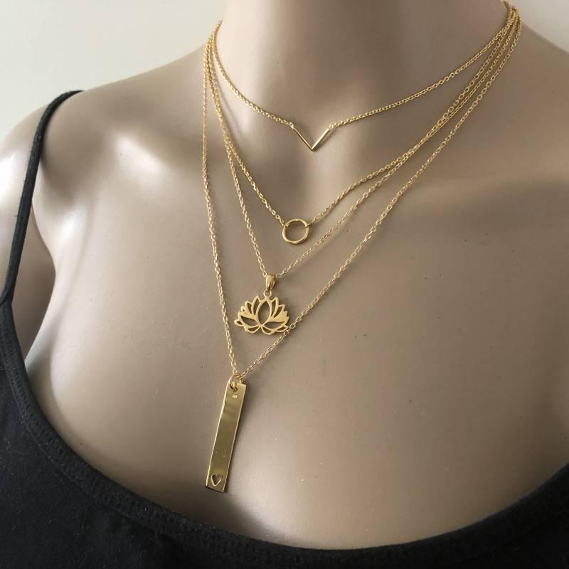 Goud op zilver Lotus bloem kettinghanger-4