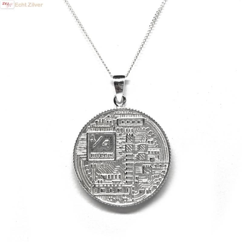 Zilveren  bitcoin munt kettinghanger-3