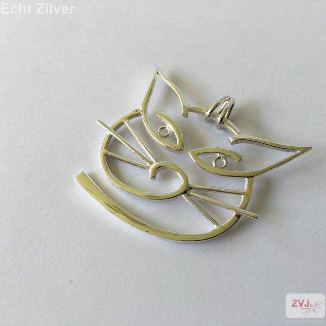 Zilveren modern gestylde grote poes kat kettinghanger