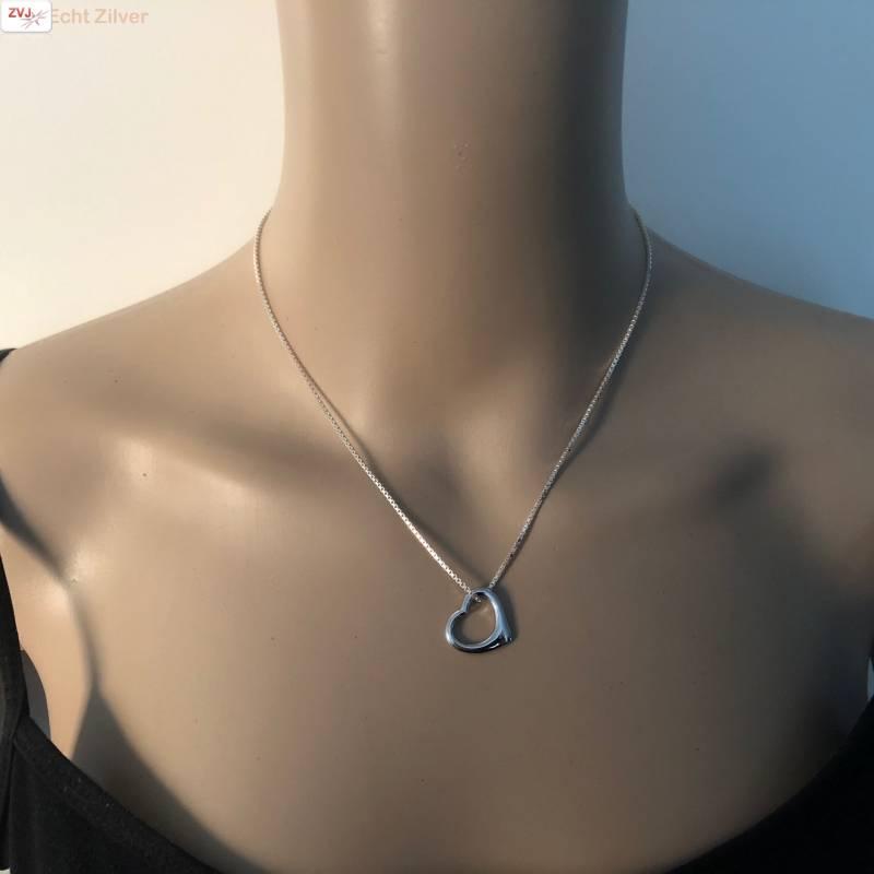 Zilveren design hart kettinghanger-2