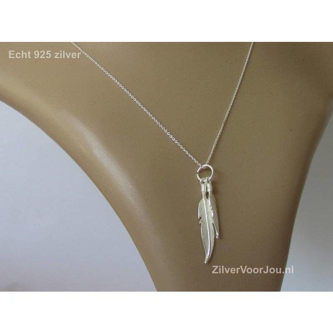 Zilveren dubbele veer kettinghanger