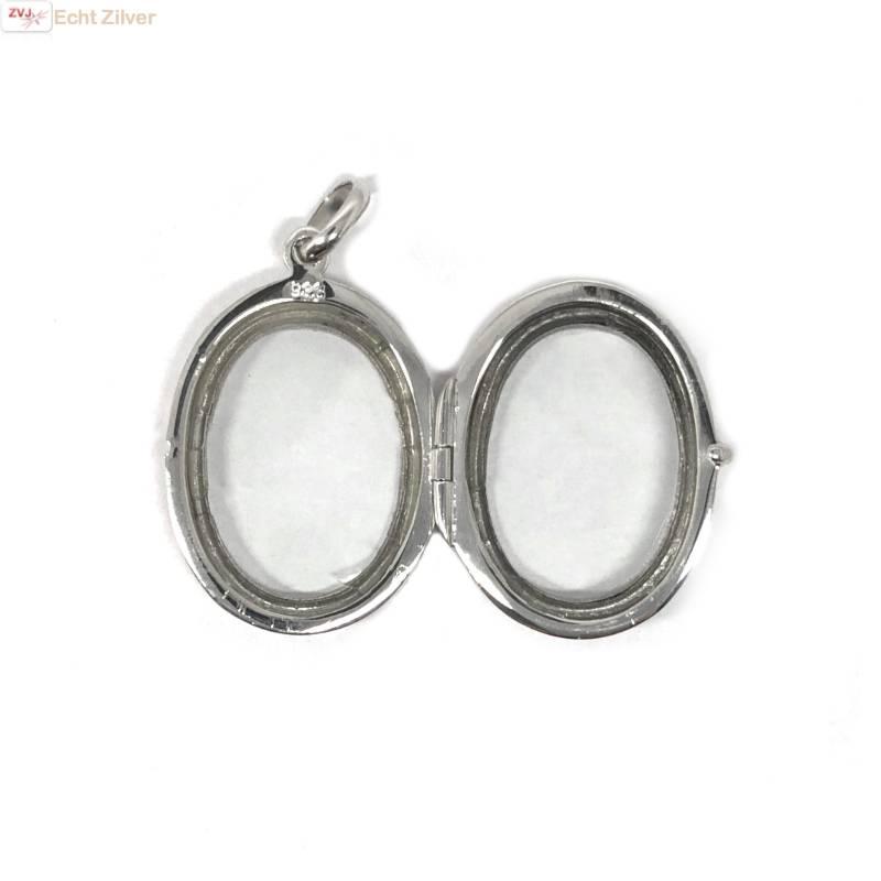 Zilveren ovale medaillon met glazen voor en achterkant-3