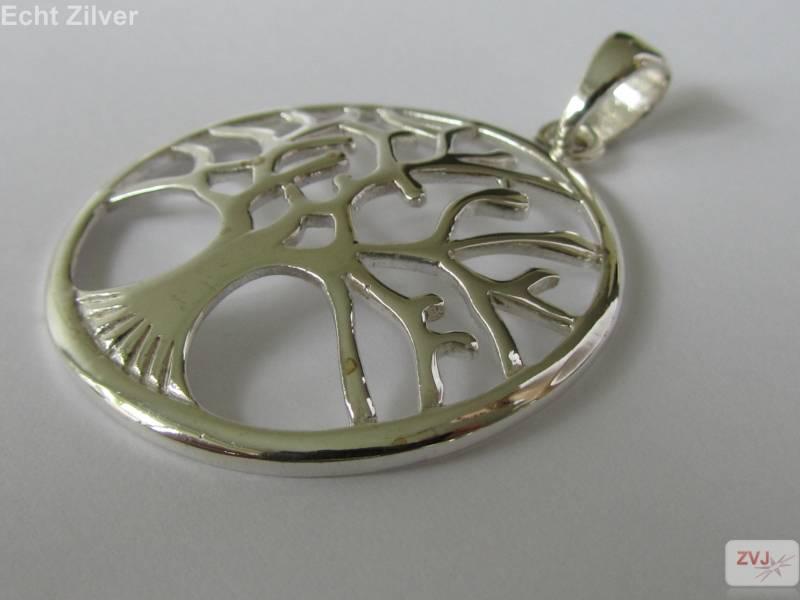 Echt Zilveren tree of life Levensboom Kettinghanger-2