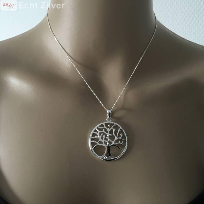 Echt Zilveren tree of life Levensboom Kettinghanger-3