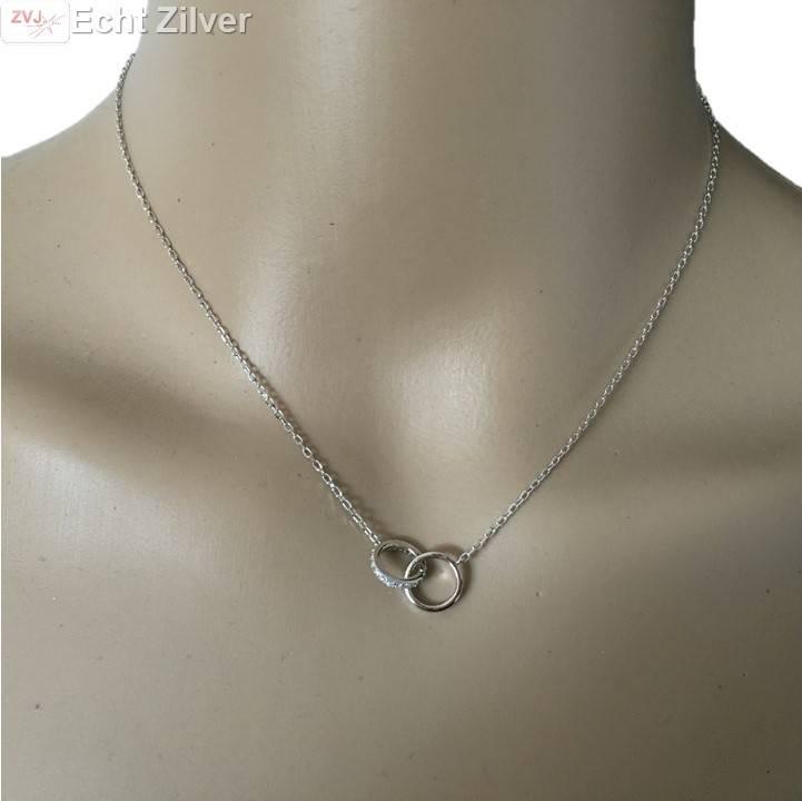 Zilveren rhodium cirkels zirkonia collier-2