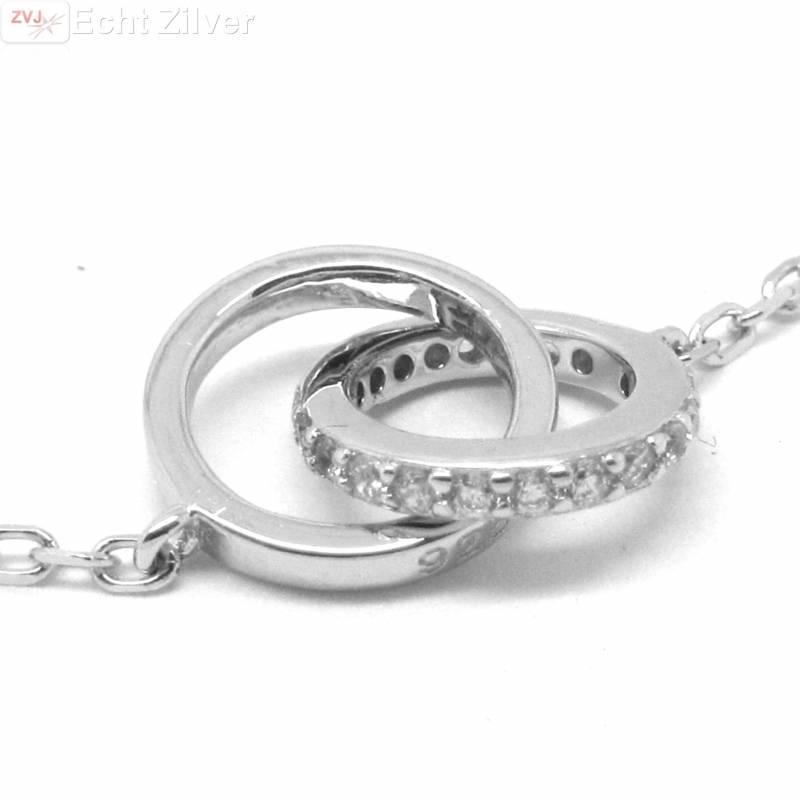 Zilveren rhodium cirkels zirkonia collier-3