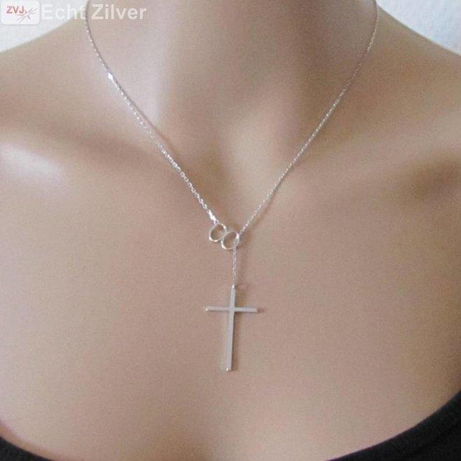 Zilveren infinity kruis rhodium collier