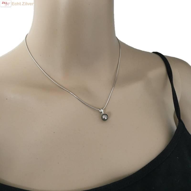 Zilveren Collier zoetwaterparel zwart rhodium New Bling-2