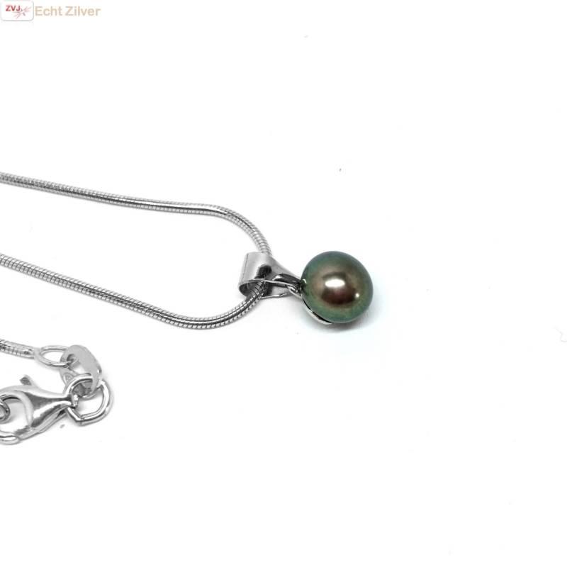 Zilveren Collier zoetwaterparel zwart rhodium New Bling-4