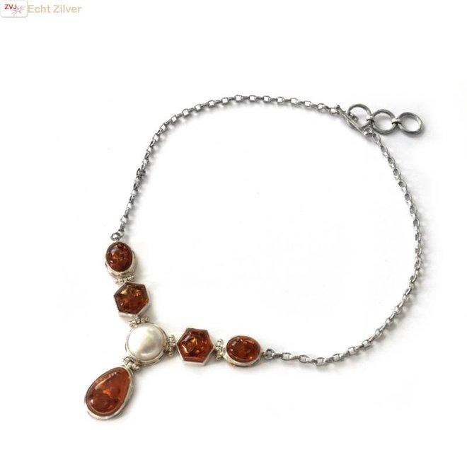 Zilveren collier amber barnsteen mabe parel