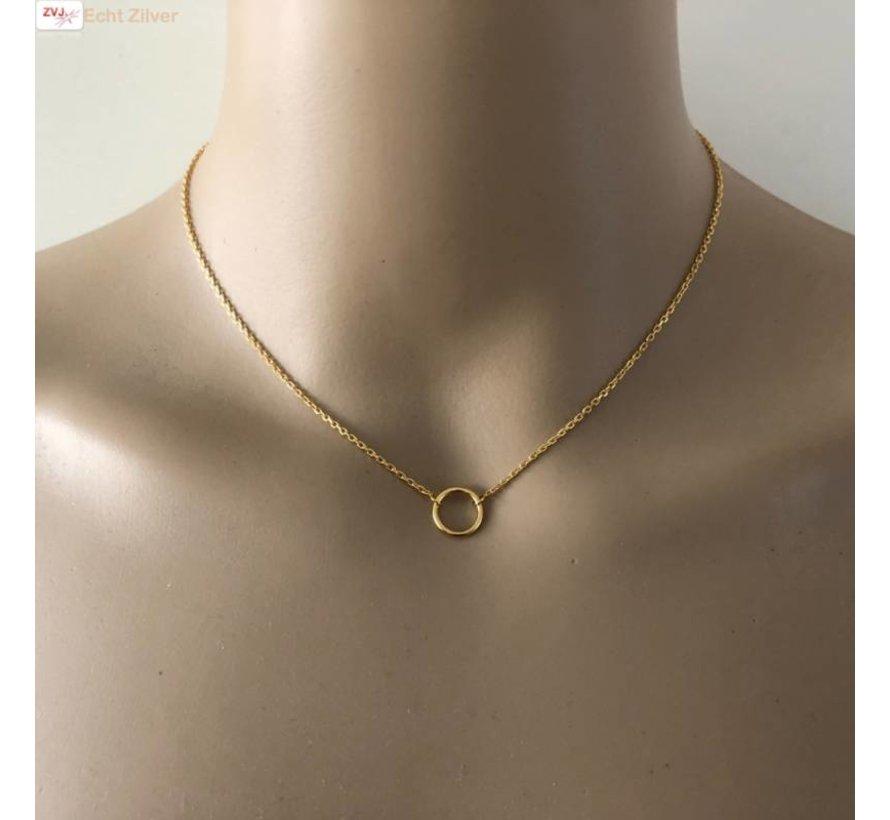 Goud op zilver cirkel collier