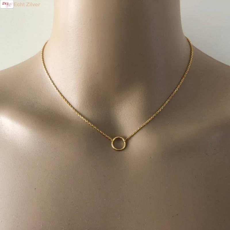 Goud op zilver cirkel collier-2