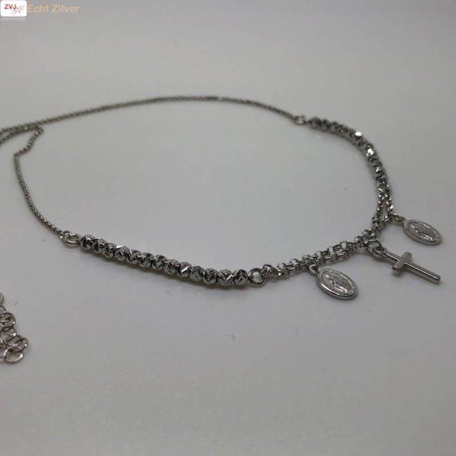 Zilveren kruis scapulier rhodium collier